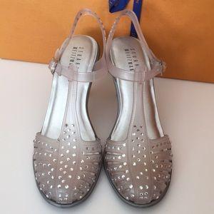 NEW Stuart Weitzman Leather/Jelly Crystal Sandals